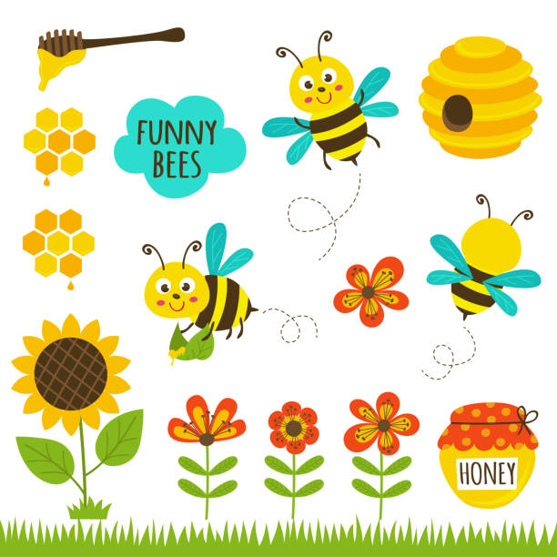 illustrazioni stock, clip art, cartoni animati e icone di tendenza di set of isolated funny bees and icons - impollinazione