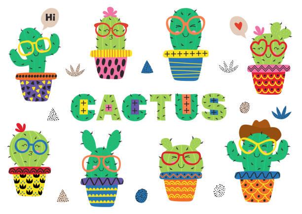 stockillustraties, clipart, cartoons en iconen met verzameling van geïsoleerde grappige cactus in glazen - cactus