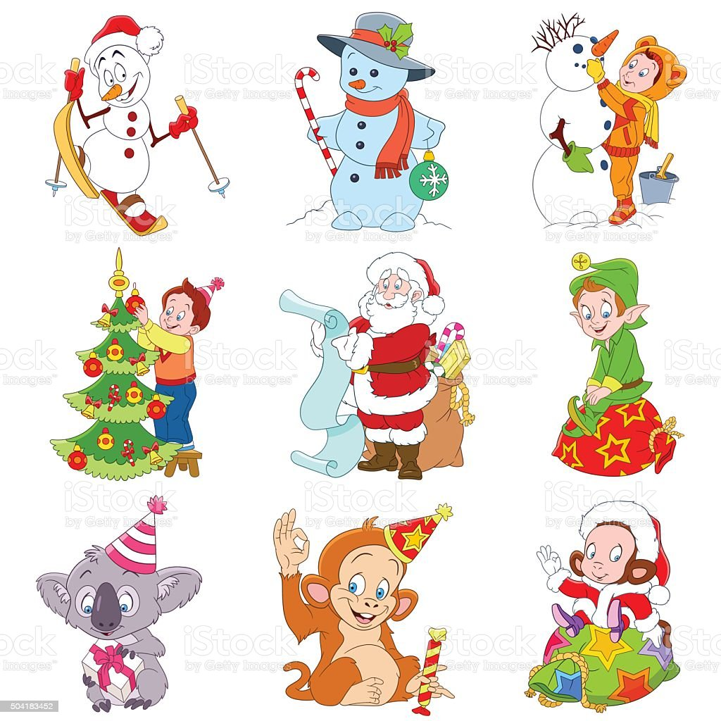 Comic Bilder Weihnachten.Satz Von Isolierten Lustiger Comic Weihnachten Symbole Stock Vektor
