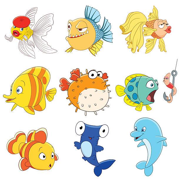 satz von isolierten lustige cartoon fische - haifischköder stock-grafiken, -clipart, -cartoons und -symbole