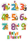 set of isolated Happy Birthday numbers with funny animals - vector illustration, eps