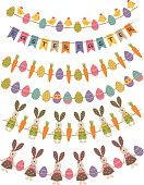 set of isolated happy easter garland- vector illustration, eps