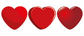 Cute set of isolated red hearts in different styles in a white background. Vector illustration.