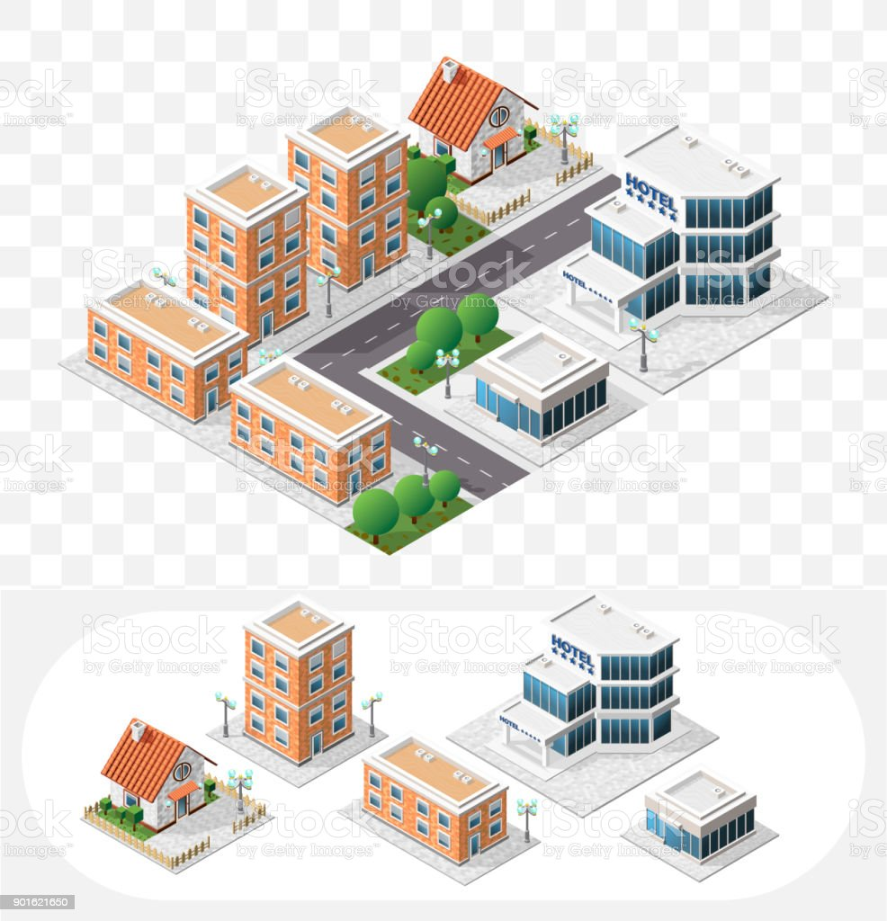 Set of Isolated High Quality Isometric City Elements on Transparent Background vector art illustration