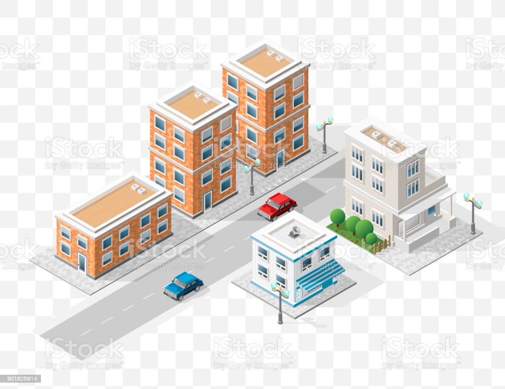 Set of Isolated High Quality Isometric City Elements on Transparent Background