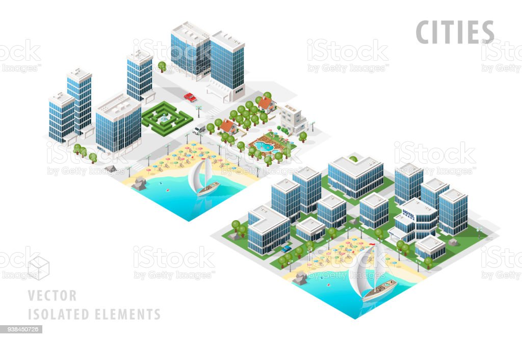 Set of Isolated High Quality Isometric City Maps on White Background vector art illustration
