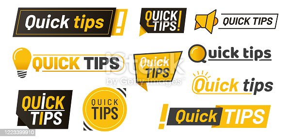 Set of isolated hints icons or tips with lamp, idea lightbulbs and megaphone with exclamation sign, logo for quick advice or tricks, education solution or faq flat design. Suggestion, help information