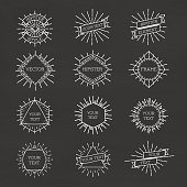 Set of isolated hipster style white frame with sunburst and ribbons. Line labels frames. Vector Illustration