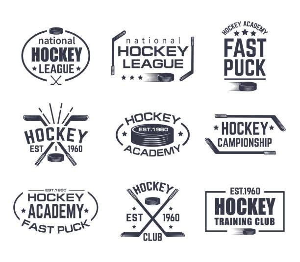 illustrations, cliparts, dessins animés et icônes de jeu d'icône du hockey isolé avec bâton et rondelle - hockey