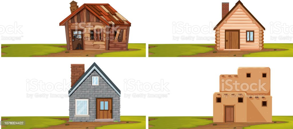 Set of isolated house vector art illustration