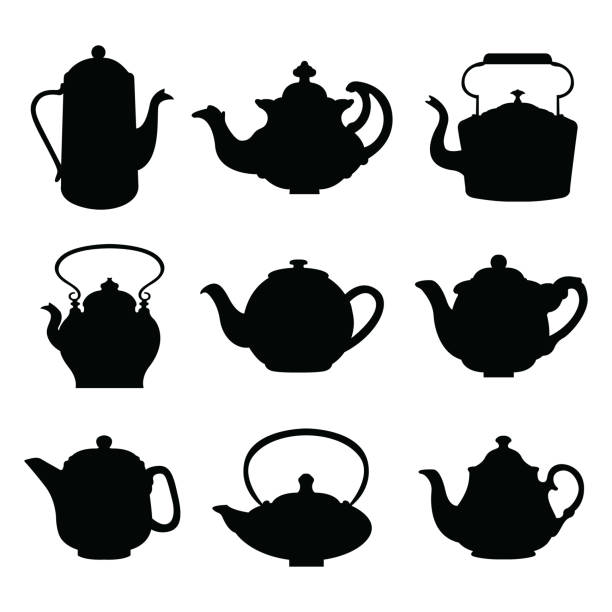 Set of isolated icon silhouette Kettles, Teapots, Coffee pot.  Abstract design logo. Logotype art - vector Set of isolated icon silhouette Kettles, Teapots, Coffee pot.  Abstract design logo. Logotype art - vector teapot stock illustrations