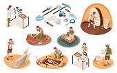 Set of isolated icons for archeology job and paleontology profession. Isometric signs with archeologist and paleontologist with dinosaur bones. Archaeologist tools, brush, shovel. Dig and excavation