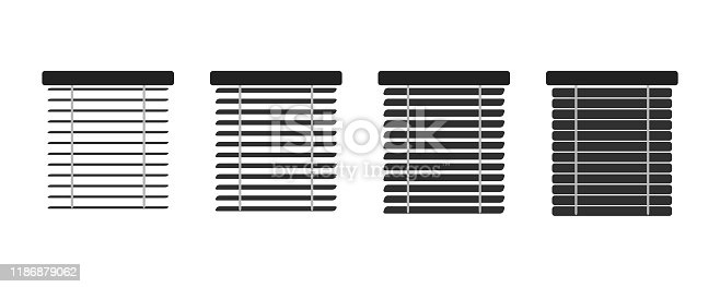 Set of isolated icons window blinds. Jalousie set, Interior design, vector illustration.