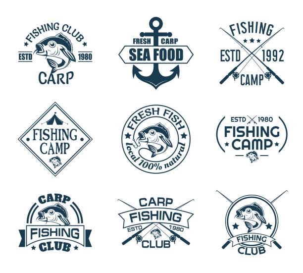 zestaw odizolowanych ikon z rybami dla klubu rybackiego - rybactwo stock illustrations