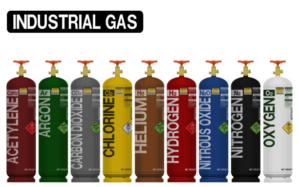 Set of isolated industrial gas cylinder on transparent background.Color of the cylinder refer to industrial standard gas cylinder coding. Set of isolated industrial gas cylinder on transparent background.Color of the cylinder refer to industrial standard gas cylinder coding. nitrous oxide stock illustrations