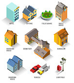 Set of Isolated Isometric Buildings