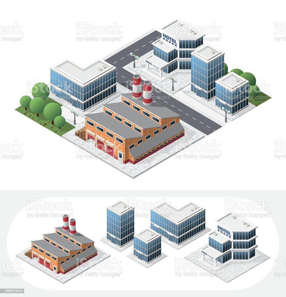 Set of Isolated Isometric City Elements on White Background. vector art illustration