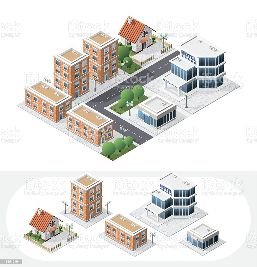 Set of Isolated Isometric City Elements on White Background. vector art illustration