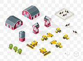 Set of Isolated Isometric Minimal City Elements . Farm with Shadows on Transparent Background