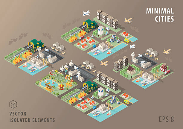 stockillustraties, clipart, cartoons en iconen met set of isolated isometric minimal city maps. elements. - airport pickup