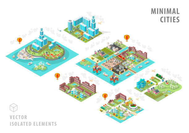 Set of Isolated Isometric Minimal City Maps . Elements with Shadows on White Background vector art illustration