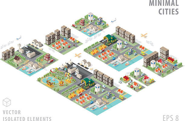 illustrazioni stock, clip art, cartoni animati e icone di tendenza di set of isolated isometric minimal city maps. - city