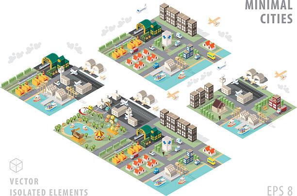 stockillustraties, clipart, cartoons en iconen met set of isolated isometric minimal city maps. - airport pickup