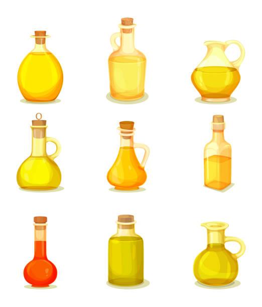 ilustrações de stock, clip art, desenhos animados e ícones de set of isolated jars or bottle with oil product - oleo palma