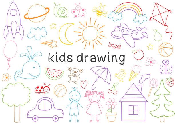 izole çocuklar çizim seti - kids drawing stock illustrations
