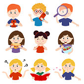 set of isolated kids with different actions  - vector illustration, eps