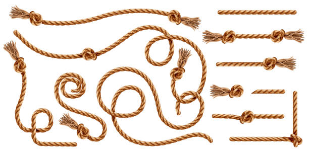 set of isolated knotted ropes with tassels or realistic cords with brush and knot. nautical 3d thread or realistic hemp whipcord with loops and noose. twisted and braided, folded, spiral fiber. - sznurek stock illustrations