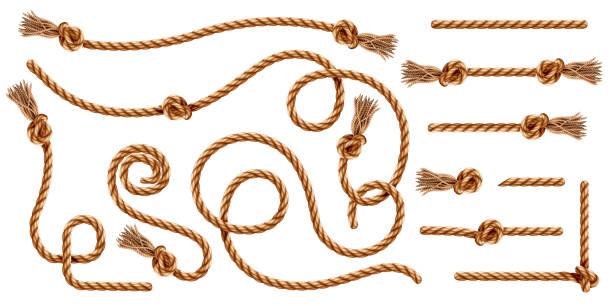 stockillustraties, clipart, cartoons en iconen met set van geïsoleerde gevlochten touwen met kwastjes of realistische koorden met kwast en knoop. nautische 3d draad of realistische hennep whipcord met lussen en noose. gedraaide en gevlochten, gevouwen, spiraal vezels. - touw