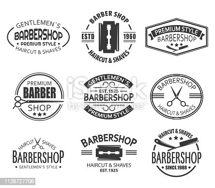 Logo for barbershop or set of isolated branding signs for haircut and shaving saloon. Logotype with scissors for gentleman comb. Man advertising and branding, classic ads for premium business