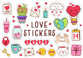 set of isolated love stickers part 1 - vector illustration, eps