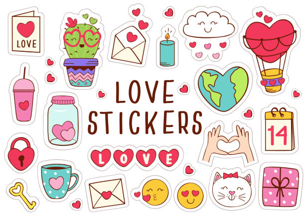 set of isolated love stickers part 1 - naklejka stock illustrations