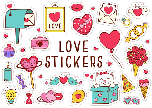 set of isolated love stickers part 2