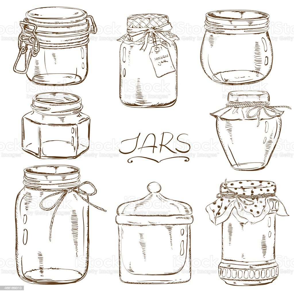 Set of isolated mason jars vector art illustration