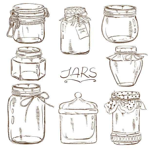 Set of isolated mason jars Set of isolated sketch mason jars jar stock illustrations