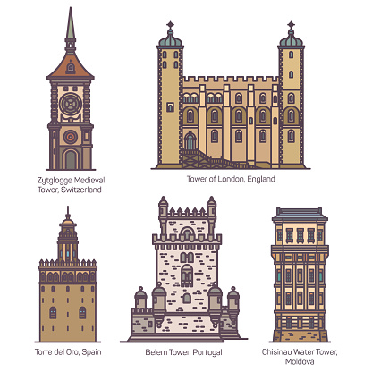 Set of isolated medieval towers of Europe