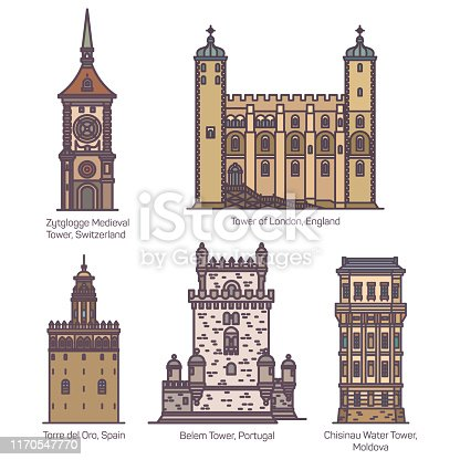 Set of isolated towers of Switzerland and Spain, England or UK, Portugal and Moldova. Zytglogge medieval and London tower, Torre del Oro and Belem, Chisinau water tower. Architecture buildings