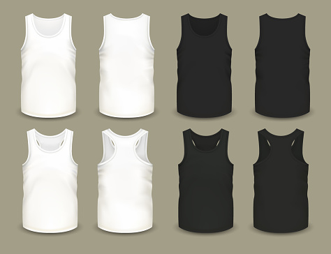 Set of isolated men sport shirts or top apparel