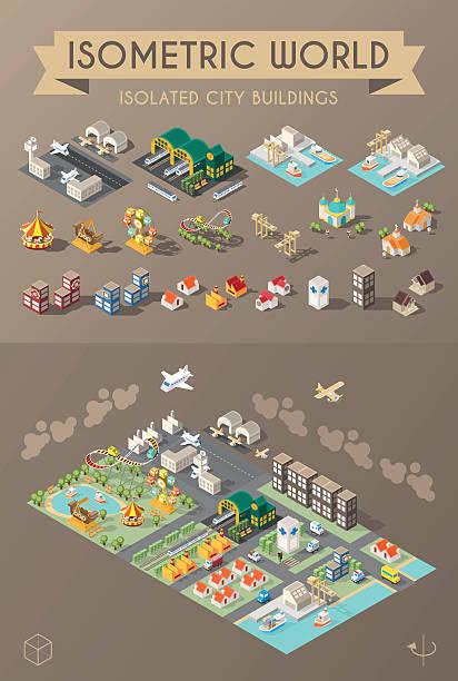 stockillustraties, clipart, cartoons en iconen met set of isolated minimal city elements. - airport pickup