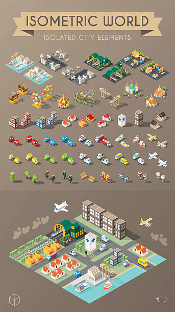 Set of Isolated Minimal City Elements. vector art illustration