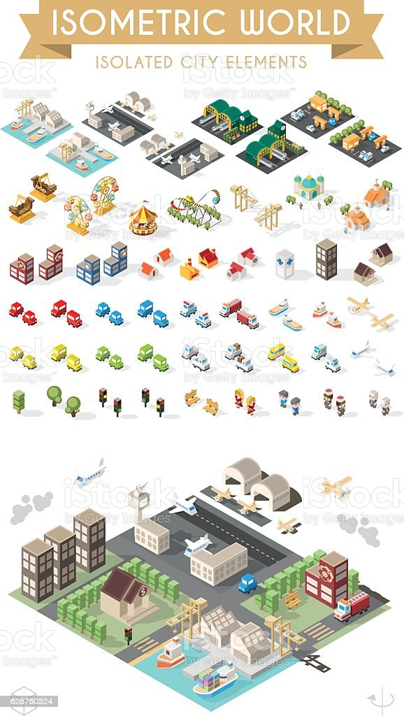 Set of Isolated Minimal City Elements. vector art illustration
