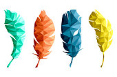 Set of isolated green, orange, blue and yellow feathers in low poly graphics on white background. Print for on T-shirts, mugs, postcards, backpacks.