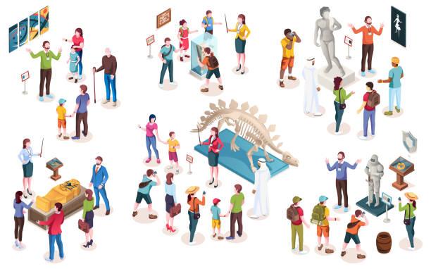illustrations, cliparts, dessins animés et icônes de ensemble d'objets de musée isolés ou de personnes d'exposition, guide et conservateur, touristes et dinosaures, art moderne et peinture, sarcophage et chevalier égyptien, statue et pierre d'archéologie. isométrique et histoire - museum