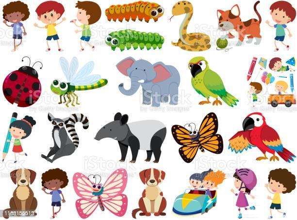 Set of isolated objects theme children and animals vector id1188155513?b=1&k=6&m=1188155513&s=612x612&h=3smjnsztwrtvwbnbdzm71erpaanmiqkrwxpyofdybpq=