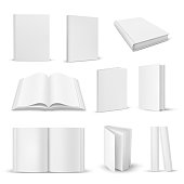 Set of isolated opened and closed realistic books. 3d blank paper magazine closeup or open, close document mockup. Empty literature pages. White or gray copybook or note with sheets. Education theme