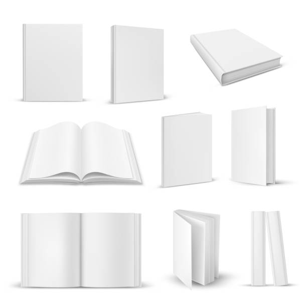 Set of isolated opened and closed realistic book Set of isolated opened and closed realistic books. 3d blank paper magazine closeup or open, close document mockup. Empty literature pages. White or gray copybook or note with sheets. Education theme book clipart stock illustrations