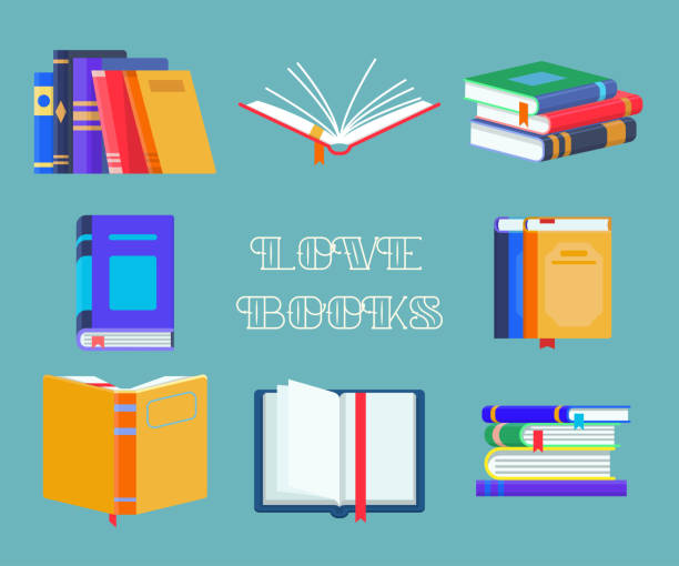 set of isolated opened textbooks - open book stock illustrations